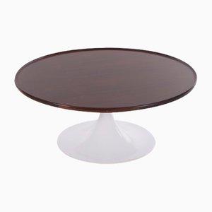 Tavolino da caffè rotondo vintage nello stile di Knoll con ripiano in palissandro, anni '70
