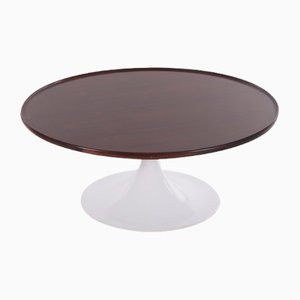 Vintage Round Coffee Table in the Style of Knoll with Rosewood Top, 1970s