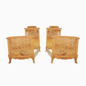 Einzelbetten aus geschnitztem Holz mit Intarsien, 2er Set