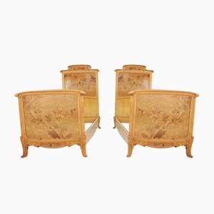 Single Beds in Carved Wood with Inlays, Set of 2