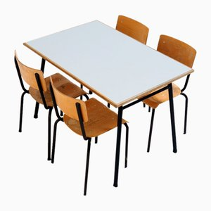 Industrial Dining Table with Matching Chairs, Set of 5