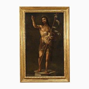 Antique Italian Painting of Saint John the Baptist, 17th Century