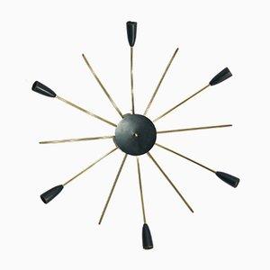 Lámpara de pared Sputnik vintage en negro y dorado, años 50
