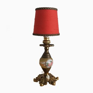 Kleine rote Jugendstil Tischlampe aus Messing & Glas, 1920er