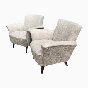 2-Tone Grey Fabric Club Chairs, 1960s, Set of 2