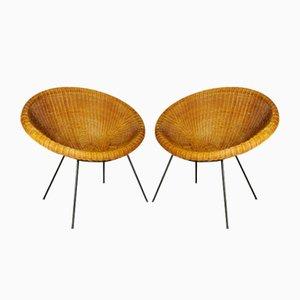 Vintage Korbgeflecht Stühle aus Bambus, 1950er, 2er Set