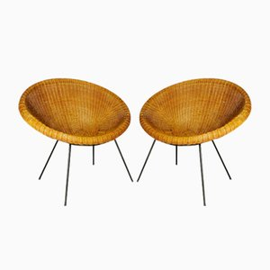 Vintage Wicker Bamboo Chairs, 1950s, Set of 2