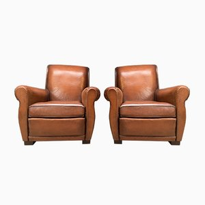 A Fabulous French Leather Club Chairs, Havana Lounge Models C1950's , Set of 2