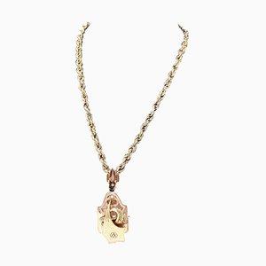 Antique Gold Necklace with Large Bourbon Pendant, 1880s