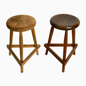 Solid Tripod Mid-Century Stools or Bar Stools with Footrests, Set of 2