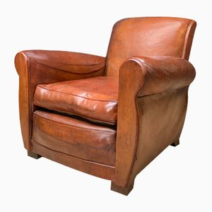 French Leather Club Chair, 1940s