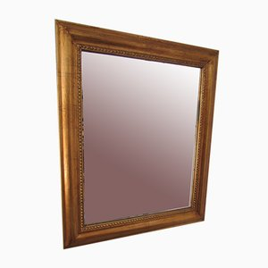 Rechteckiger Spiegel aus goldenem Holz