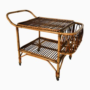Vintage Bamboo Bar Trolley, 1950s, Italy
