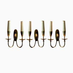 Doppelleuchte Wandlampen von Giò Ponti, 1950er, Italien, 3er Set