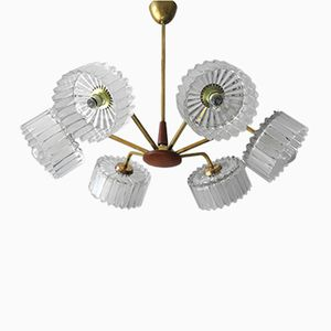Teak and Brass Ceiling lamp with 6 Crystal Glass Shades from Arteluce