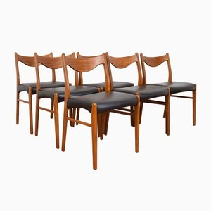 Mid-Century Danish Teak and Leather Dining Chairs by Arne Wahl Iversen for Glyngøre Stolefabrik, 1960s, Set of 6