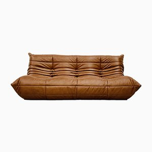 Vintage French Sofa in Brown Leather by Michel Ducaroy for Ligne Roset, 1970s