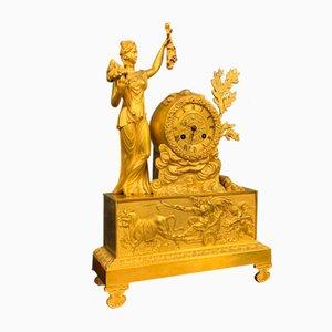 Empire Clock in Gilded Bronze, 1810s