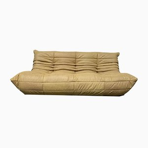 Vintage French Camel Leather Togo Sofa by Michel Ducaroy for Ligne Roset
