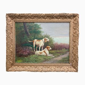 Emile Godchaux, 2 cani da caccia, 1880-1890, olio su tela, con cornice