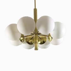 Chandelier with 8 Opaline Glass Globes in Sputnik Style from Kaiser, 1960s