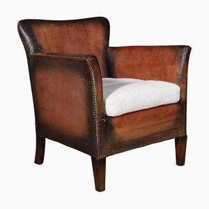 Danish Cabinetmaker Club Chair in Tan Leather, 1940s