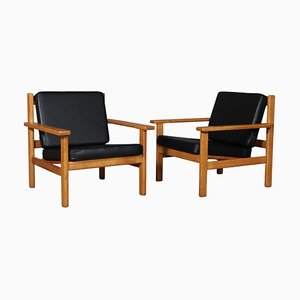 Modell 220 Sessel aus schwarzem Anilinleder von Hans J. Wegner für Getama, 2er Set