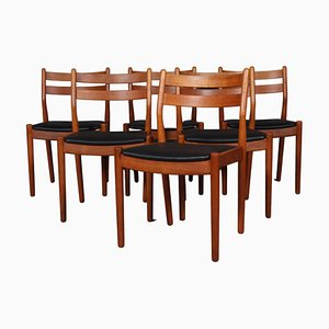 Model J61 Oak and Leather Dining Chairs by Poul Volther for FDB, Set of 6