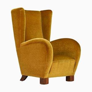Art Deco Wingback Armchair in Oker Mohair Velvet, 1930s