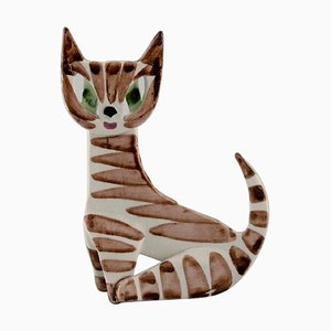 Cat in Hand-Painted Glazed Porcelain by Dorothy Clough for Gefle, R, Mid-20th Century