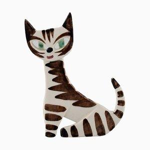Katze aus handbemaltem glasiertem Porzellan von Dorothy Clough für Gefle, Mitte des 20. Jh