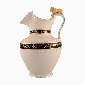 Antique Altwasser Chocolate Jug in Porcelain with a Lion on the Handle