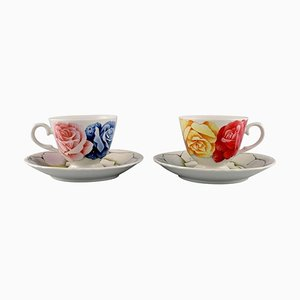 Romantica Coffee Cups with Saucers in Porcelain by Emilio Bergamin for Taitù, Set of 4
