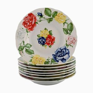 Romantica Plates in Porcelain with Flowers by Emilio Bergamin for Taitù, Set of 8