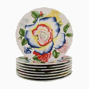Large Romantica Porcelain Dinner Plates by Emilio Bergamin for Taitù, Set of 8