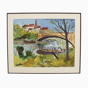 Lastkahn an der Seine von Roland Dubuc, 1970er