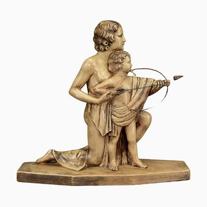 Art Deco Bisque Sculpture of Mother and Child with Bow and Arrow