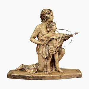 Sculpture en Bisque Art Déco de Mère et Enfant avec Arc et Flèche