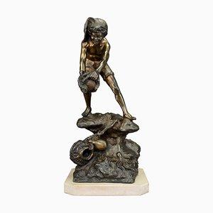 Große Figur eines Fisher Boy Standing on Rock