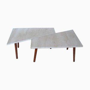 Tavoli in travertino, anni '70, set di 2