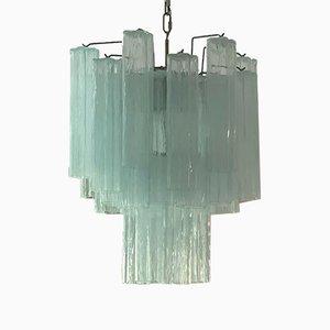 Small Ice Blue Tubular Murano Glass Chandelier