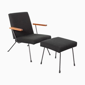 1409 Armchair and 1801 Foot Stool by AR Cordemeyer for Gispen, Set of 2