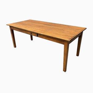 Großer Eichenholz Esstisch mit Schublade