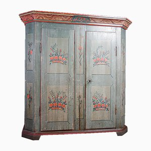 Brocante Blau Lackierter Zweitüriger Schrank, 1820er
