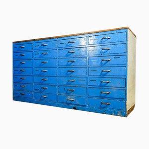 Cassettiera da laboratorio industriale blu, anni '30