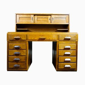 Art Deco Oak Desk with Recessed Section, 1920s