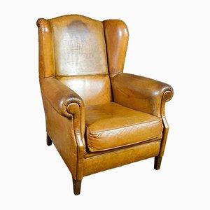 Vintage Cognac Leather Ear Chair