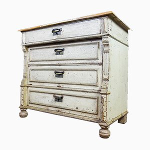 Low Brocante Drawer Cabinet with Patina, Early 1900s
