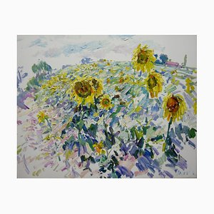 Georgij Moroz, Campo di girasoli impressionista, 2000, olio su tela