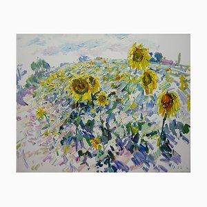 Georgij Moroz, Impressionistisches Sonnenblumenfeld, 2000, Öl auf Leinwand